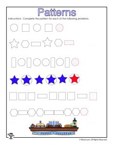 Shape Patterns Worksheet for Kids - ANSWER KEY
