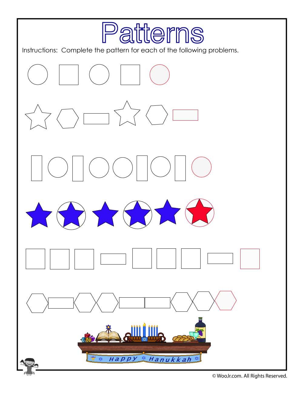 shape patterns worksheet for kids answer key woo jr. Black Bedroom Furniture Sets. Home Design Ideas