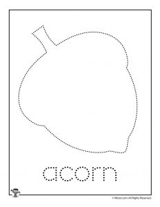 Fall Autumn Acorn Letter Tracing Practice