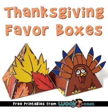 Thanksgiving Favor Boxes Free Printable