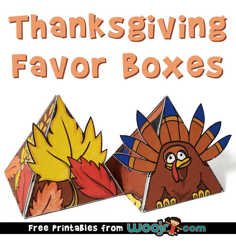 Thanksgiving Favor Boxes Free Printables