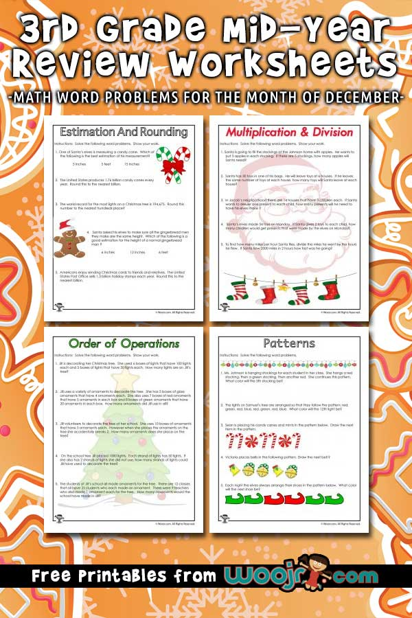 3rd Grade Mid Year Review Math Worksheets for Christmas ...