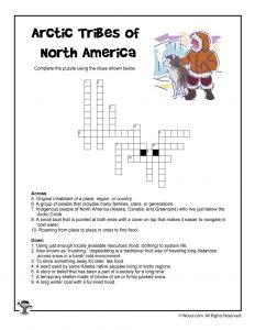 Arctic Tribes Vocabulary Crossword Puzzle