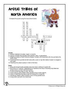 Arctic Tribes Vocabulary Crossword Puzzle - ANSWER KEY