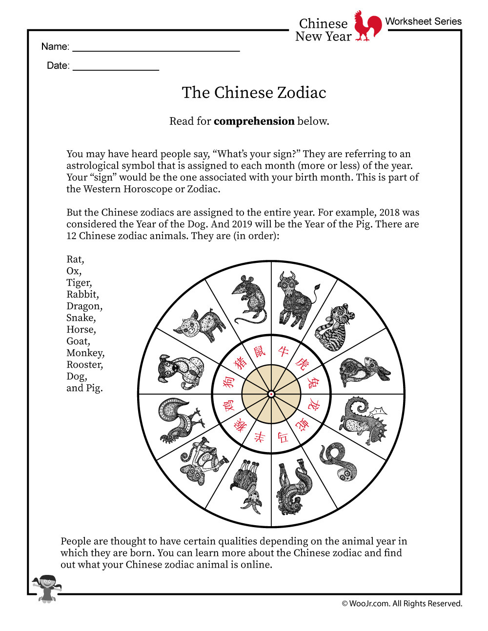 image regarding Chinese Zodiac Printable titled Chinese Zodiac Worksheet Woo! Jr. Youngsters Pursuits