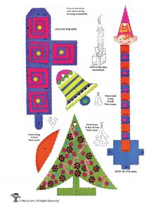Christmas Tree and Toy Paper Craft Ornaments