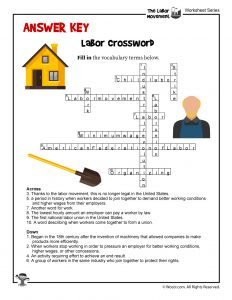 Labor Day Crossword Puzzle - ANSWER KEY