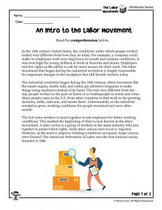 Introduction to the Labor Movement Printable