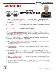 Labor Day for Kids Reading Comprehension - ANSWER KEY