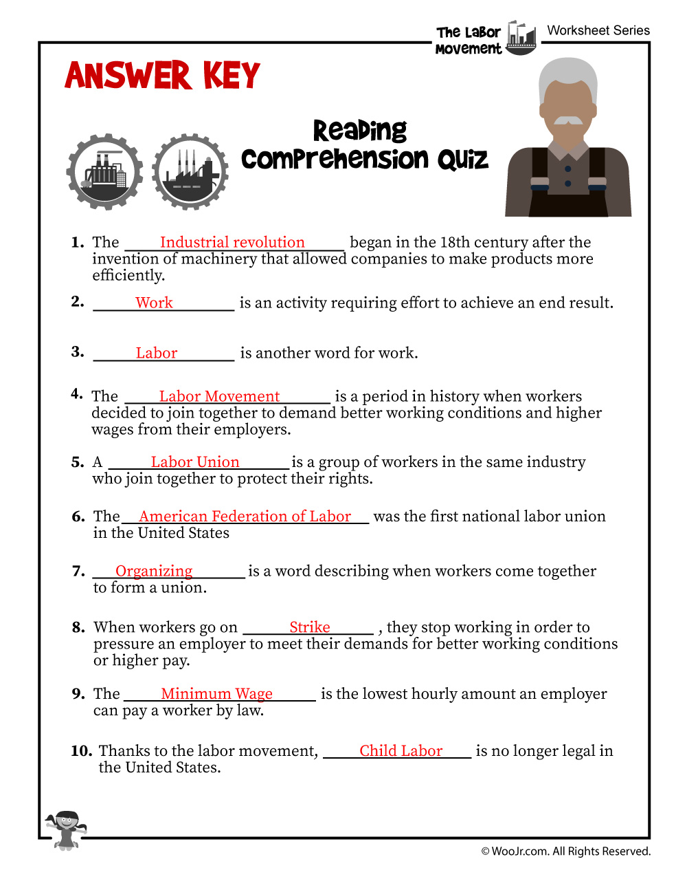 - Labor Day For Kids Reading Comprehension - ANSWER KEY Woo! Jr