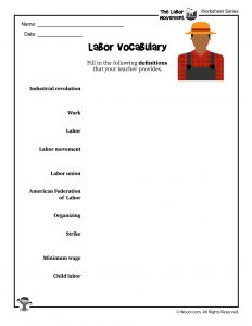 Labor Day Vocabulary Word List