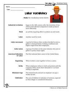 Labor Day Vocabulary Word List with Definitions