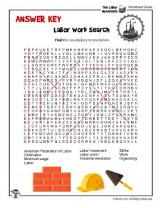 Labor Day Word Search - ANSWER KEY