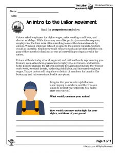Introduction to the Labor Movement Printable Part 2