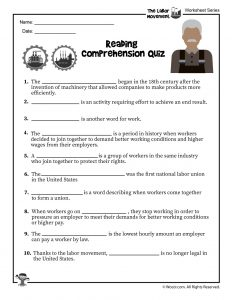 Labor Day for Kids Reading Comprehension