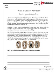What is Chinese New Year Worksheet