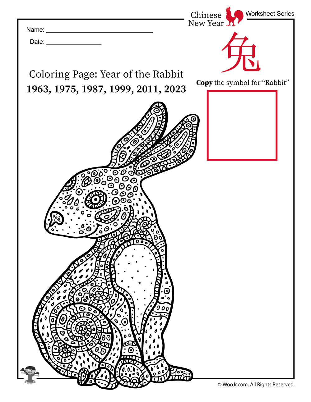 Year Of The Rabbit Coloring Page Woo Jr Kids Activities