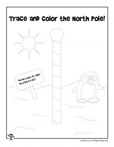 North Pole Christmas Tracing Worksheet