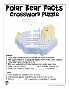 Polar Bear Day Crossword Puzzle Worksheet