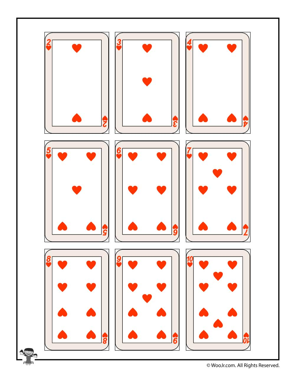 graphic about Printable Playing Cards named Printable taking part in playing cards - hearts Woo! Jr. Children Things to do