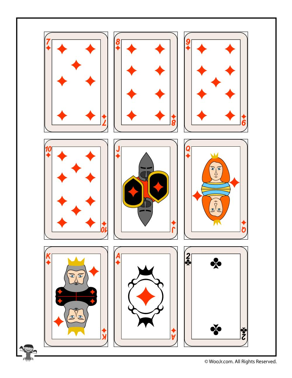 graphic regarding Printable Deck of Cards referred to as Printable enjoying playing cards - diamonds golf equipment Woo! Jr. Small children