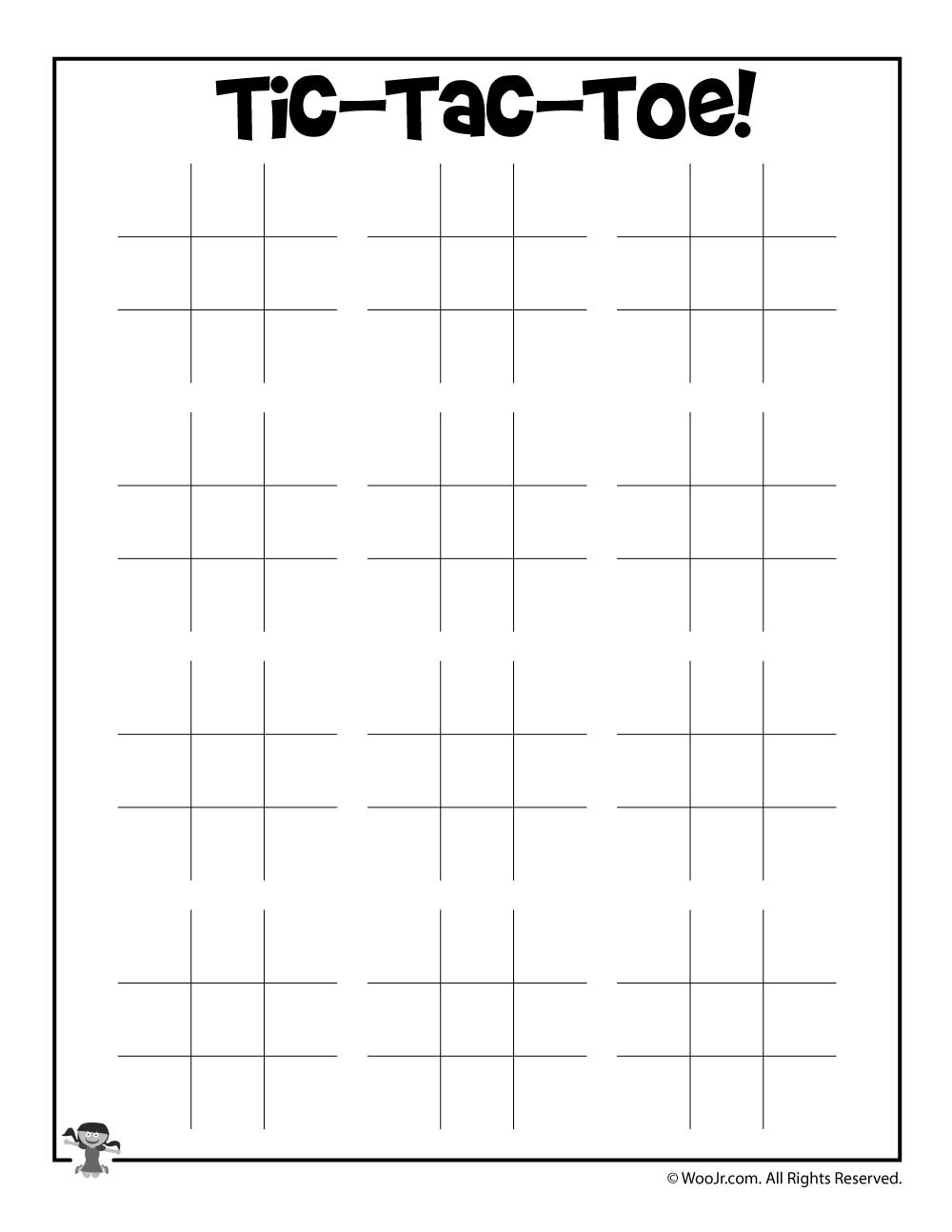 picture relating to Tic Tac Toe Printable named Printable Tic Tac Toe Video game Woo! Jr. Young children Actions