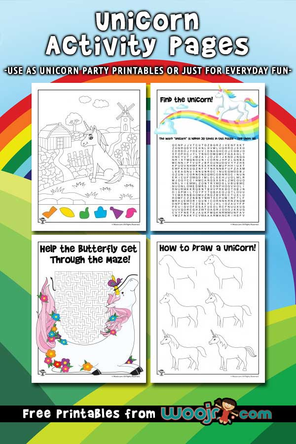 Unicorn Activity Pages for Kids | Woo! Jr. Kids Activities
