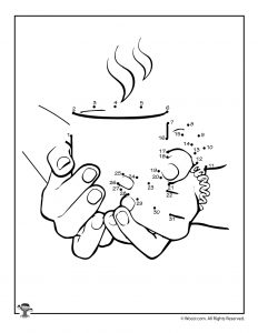 Hot Chocolate Drawing Dots Worksheet