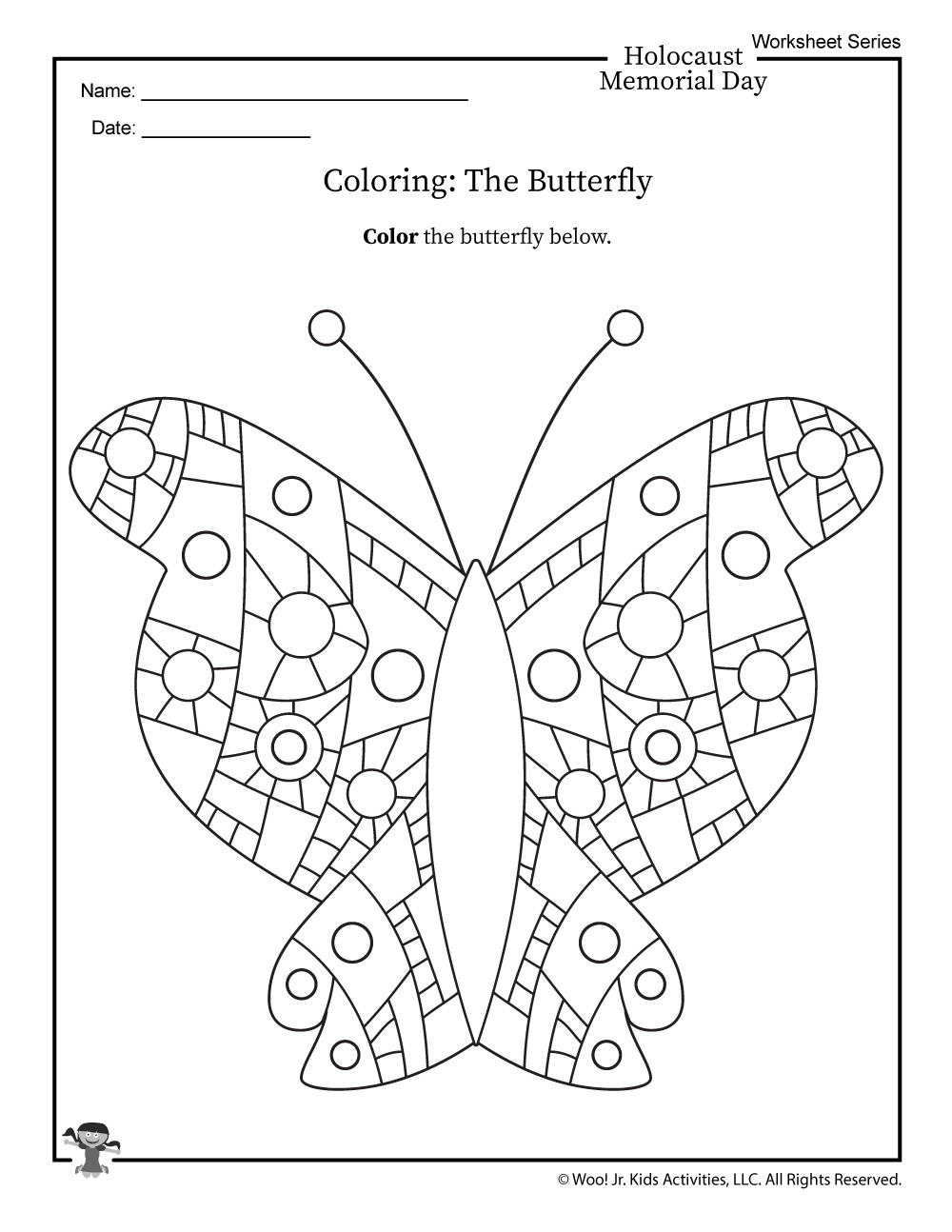 Holocaust Butterfly Coloring Page | Woo! Jr  Kids Activities