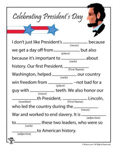 Presidents Day Mad Libs