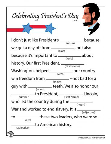 Presidents Day Ad Libs