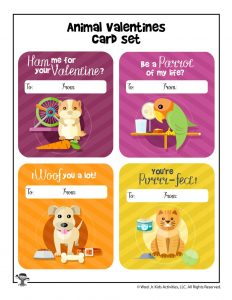 Printable Animal Valentines for Kids