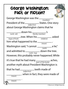 George Washington Mad Libs for Kids