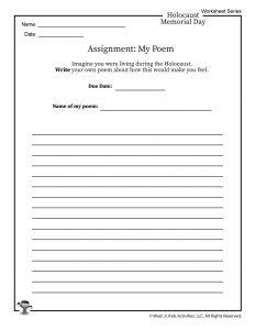 Holocaust Poem Writing Worksheet