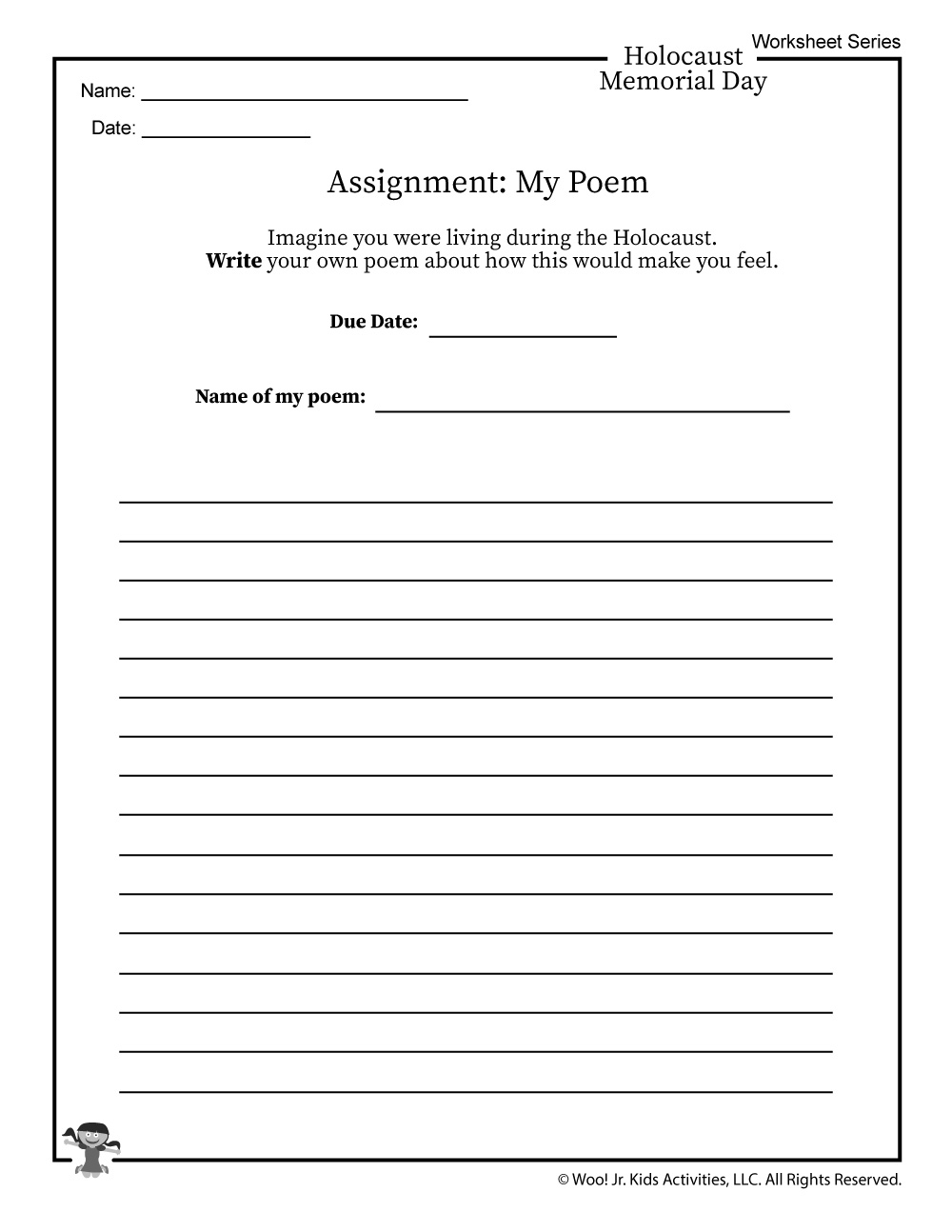 Holocaust Poem Writing Worksheet Woo Jr Kids Activities To write a poem, first decide whether you want to follow a specific structure such as a sonnet or we'll them use our extensive word lists to write a poem inspired by your input. holocaust poem writing worksheet woo