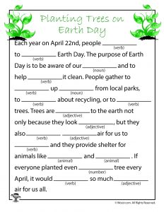 Planting Trees on Earth Day Mad Libs