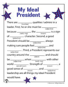 My Ideal President Funny Ad Libs Printable