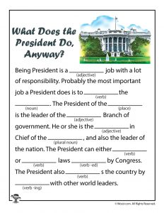 What Does the President Do Mad Libs for Kids