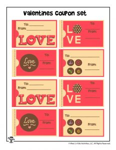 Cute Printable Love Coupon Valentine Cards