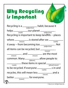 Recycling Mad Libs for Kids