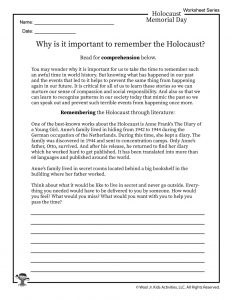 Remembering Anne Frank Worksheet