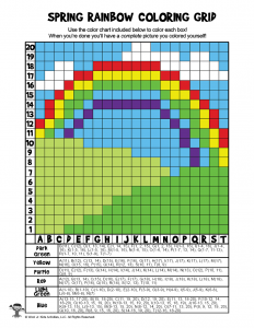 Spring Rainbow Grid Coloring Page = ANSWER KEY
