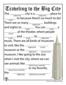 Traveling to the Big City Mad Lib for Children
