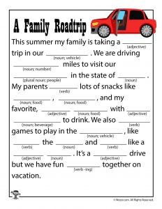 A Family Road Trip Printable Mad Lib