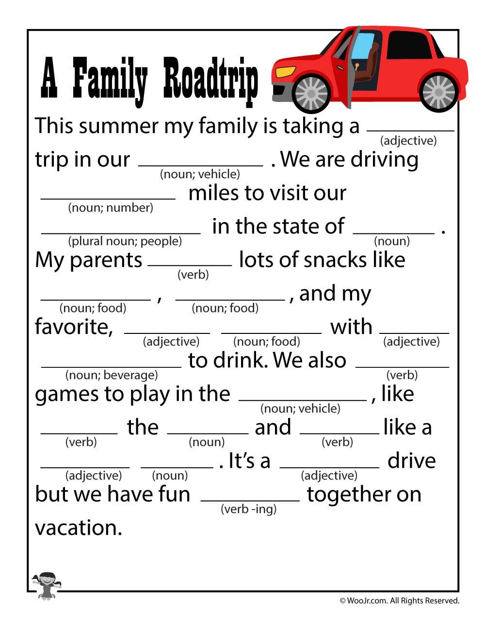 A Family Road Trip Printable Mad Lib Woo Jr Kids Activities