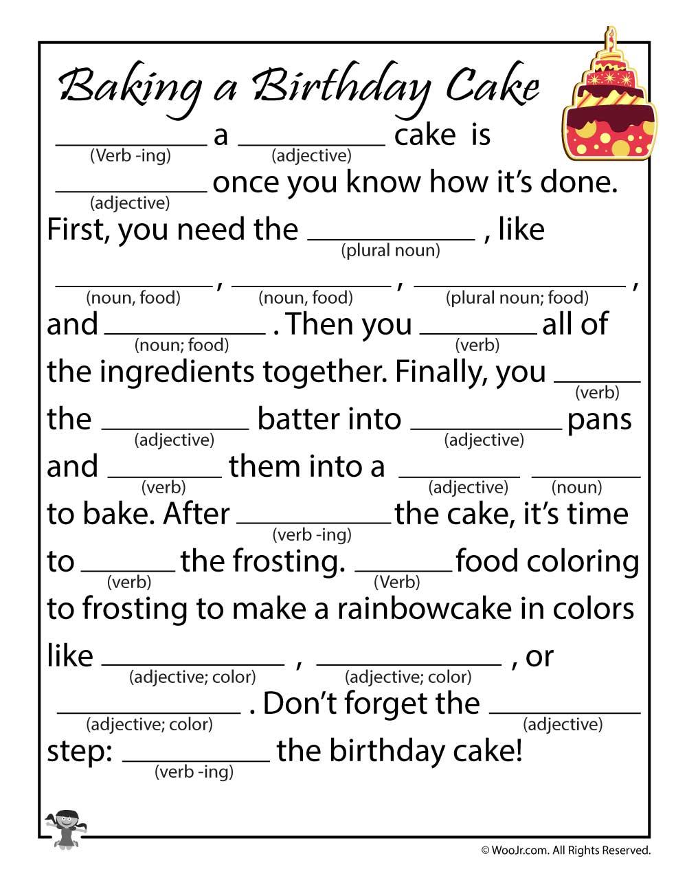 Birthday Cake Ad Libs Printable Woo Jr Kids Activities Children S Publishing