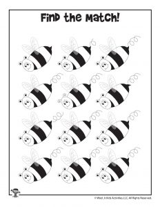 Find the Matching Bees Printable Game