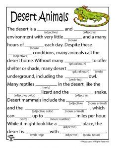 Desert Animals Printable Mad Lib