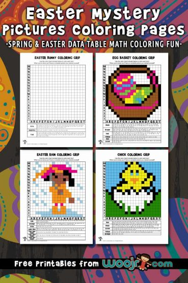 Spring and Easter Mystery Pictures Grid Coloring Pages