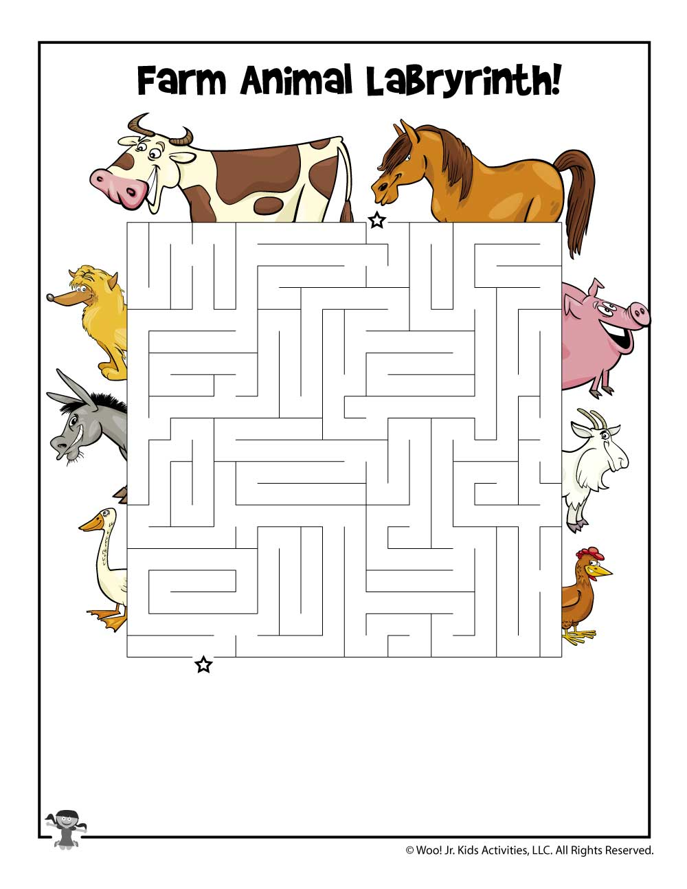 Farm Animal Printable Maze Woo Jr Kids Activities